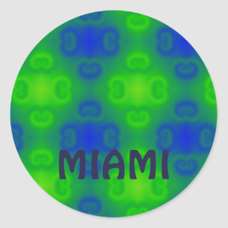 Blue and Green Retro Abstract Classic Round Sticker
