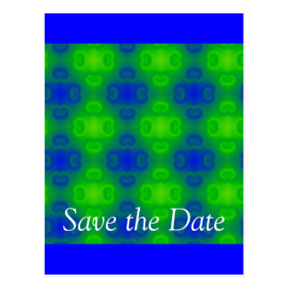 Blue and Green Retro Abstract Postcard