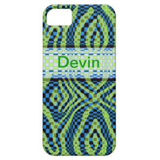 Blue and Green Retro swirl Iphone4 ID case
