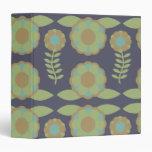 Blue and Green Retro Wallpaper Flower Pattern Vinyl Binder