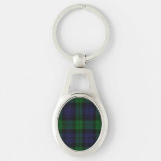 Blue And Green Scottish Sunderland Tartan Check Silver-Colored Oval Metal Keychain