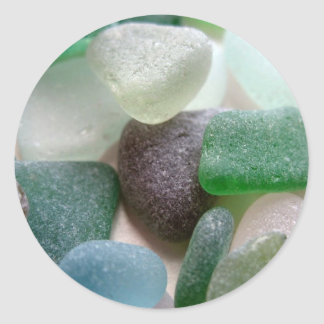 Blue and Green Sea Glass Classic Round Sticker