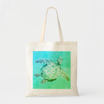 Blue and Green Sea Turtle Tote Bag