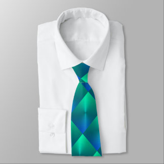 Blue and Green Shimmer Blocks Tie