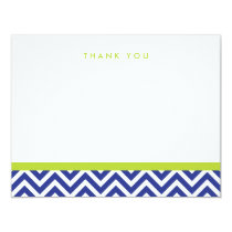 Blue and Green Simple Chevron Thank You Note Cards