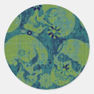 Blue and Green Skulls Classic Round Sticker
