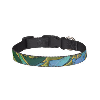 Blue and green small dog collar