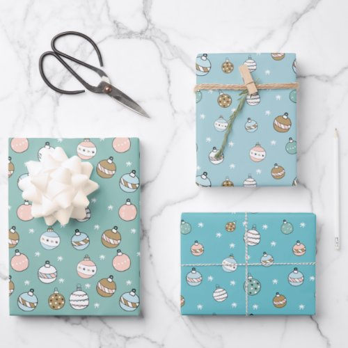 blue and Green snowball christmas  Wrapping Paper Sheets