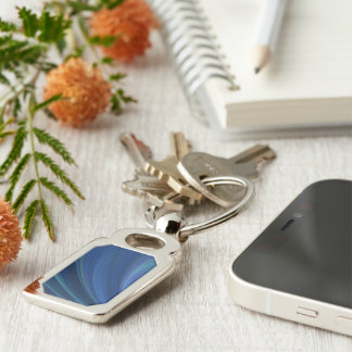 Blue And Green Soft Sand Waves Silver-Colored Rectangular Metal Keychain