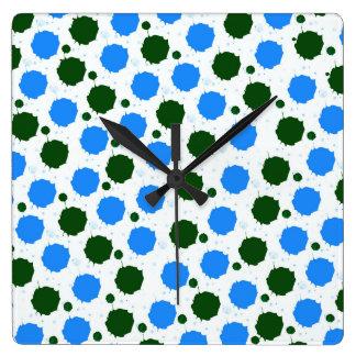 Blue and Green Splash Dots Square Wall Clock