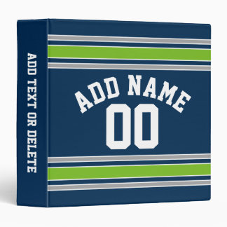 Blue and Green Sports Jersey Custom Name Number 3 Ring Binder