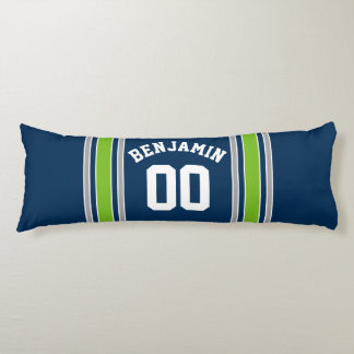 Blue and Green Sports Jersey Custom Name Number Body Pillow