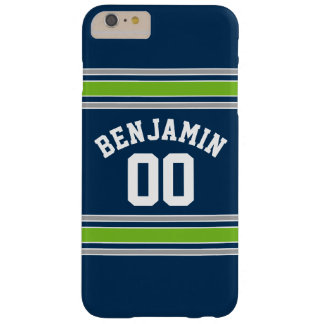 Blue and Green Sports Jersey Custom Name Number Barely There iPhone 6 Plus Case