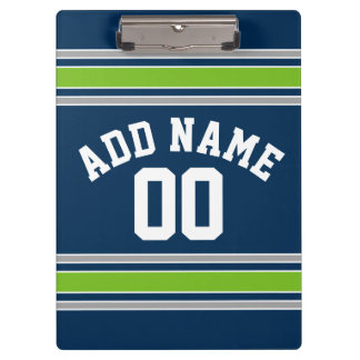 Blue and Green Sports Jersey Custom Name Number Clipboards