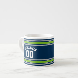 Blue and Green Sports Jersey Custom Name Number Espresso Cup