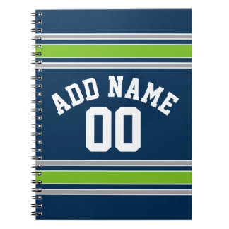 Blue and Green Sports Jersey Custom Name Number Notebook