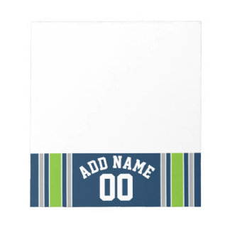 Blue and Green Sports Jersey Custom Name Number Notepad