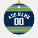 Blue and Green Sports Jersey Custom Name Number Christmas Tree Ornaments