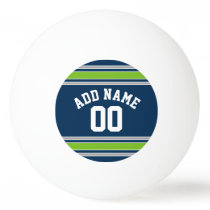 Blue and Green Sports Jersey Custom Name Number Ping-Pong Ball