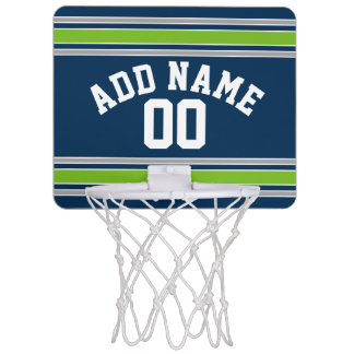 Blue and Green Sports Jersey Custom Name Number Mini Basketball Hoops
