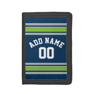 Blue and Green Sports Jersey Custom Name Number Tri-fold Wallet