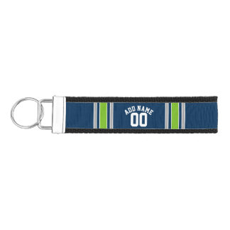 Blue and Green Sports Jersey Custom Name Number Wrist Keychain