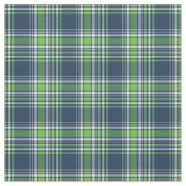 Beach Themed Blue and Green Sporty Plaid Fabric