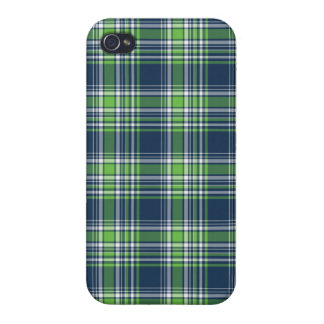 Blue and Green Sporty Plaid iPhone 4/4S Cases