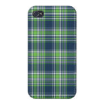 Blue and Green Sporty Plaid iPhone 4 Case