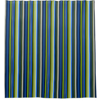 Blue And Green Sporty Striped Shower Curtain