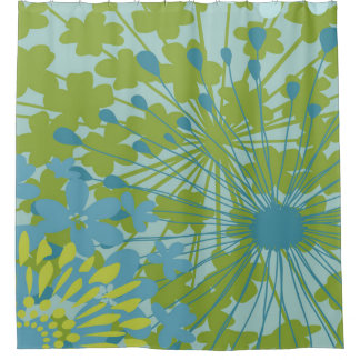 Blue and Green Spring Floral Design Shower Curtain