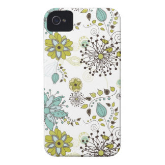 Blue and Green Spring Floral Pattern iPhone 4 Covers