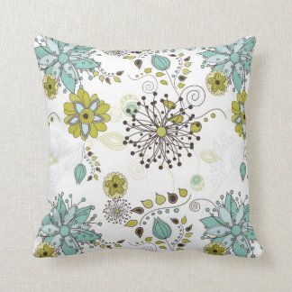 Blue and Green Spring Floral Pattern Pillows