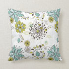Blue and Green Spring Floral Pattern Throw Pillow