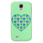 Blue and Green Squares Heart Galaxy S4 Case