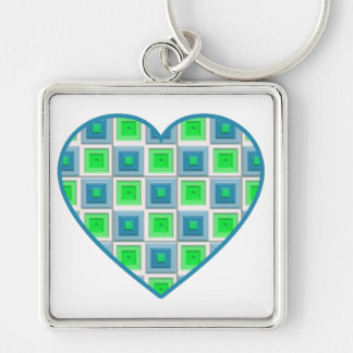 Blue and Green Squares Heart Keychain