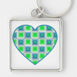 Blue and Green Squares Heart Keychains