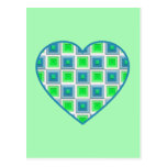 Blue and Green Squares Heart Postcard