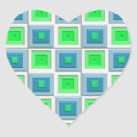 Blue and Green Squares Heart Sticker