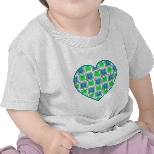 Blue and Green Squares Heart Tshirts