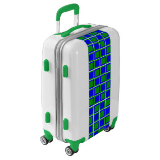Blue and green squares luggage case