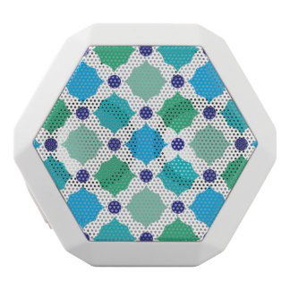 Blue and green squares white bluetooth speaker