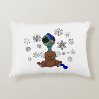 Blue and Green Squite (Pocket Griffon) Snowflakes Accent Pillow