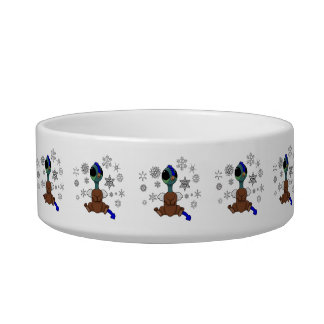 Blue and Green Squite (Pocket Griffon) Snowflakes Bowl