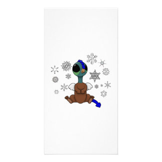 Blue and Green Squite (Pocket Griffon) Snowflakes Card