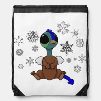 Blue and Green Squite (Pocket Griffon) Snowflakes Drawstring Bag