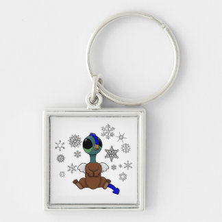 Blue and Green Squite (Pocket Griffon) Snowflakes Keychain