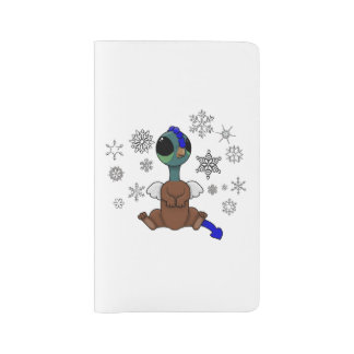 Blue and Green Squite (Pocket Griffon) Snowflakes Large Moleskine Notebook Cover With Notebook