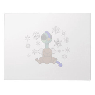 Blue and Green Squite (Pocket Griffon) Snowflakes Notepad