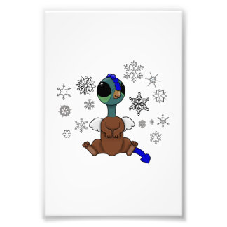 Blue and Green Squite (Pocket Griffon) Snowflakes Photo Print